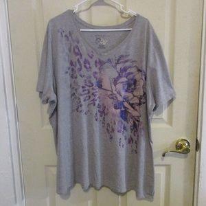 JMS Gray glitter floral print t-shirt top 4X
